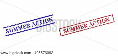 Grunge Summer Action Rubber Stamps In Red And Blue Colors. Stamps Have Rubber Style. Vector Rubber I