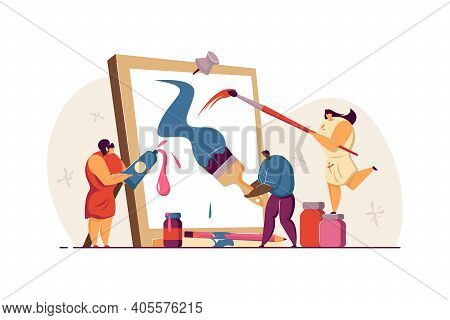 Tiny People Creating Picture In Artwork Studio Flat Vector Illustration. Cartoon Artists Painting Or