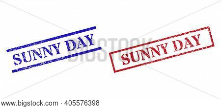 Grunge Sunny Day Rubber Stamps In Red And Blue Colors. Stamps Have Distress Style. Vector Rubber Imi