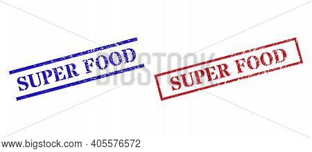Grunge Super Food Rubber Stamps In Red And Blue Colors. Seals Have Rubber Texture. Vector Rubber Imi