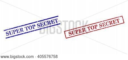 Grunge Super Top Secret Seal Stamps In Red And Blue Colors. Stamps Have Rubber Style. Vector Rubber