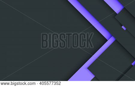 Dark Background With Black And Purple Geometric Stripes Overlapping With Shadow.