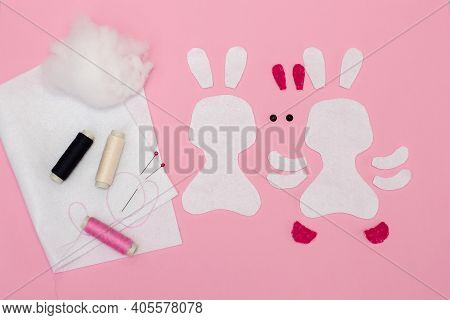 Step-by-step Instructions For Diy Easter Bunny Made Of Felt. Step 1: Prepare The Materials (parts Cu