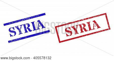 Grunge Syria Stamp Seals In Red And Blue Colors. Seals Have Rubber Style. Vector Rubber Imitations W