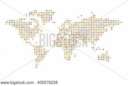 Colorful World Map Mosaic Of Small Dots. Vector Illustration.
