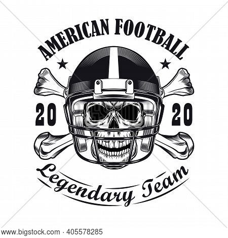 Rugby Team Label Design. Monochrome Element With Skull In Players Helmet And Bones Vector Illustrati