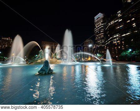 Swann Memorial Fountain Long Exposure.