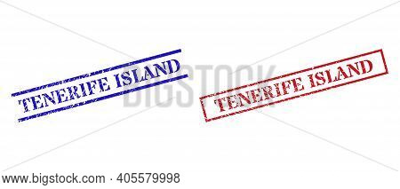 Grunge Tenerife Island Rubber Stamps In Red And Blue Colors. Stamps Have Draft Texture. Vector Rubbe
