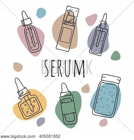 Set Of Serum. Hand Drawn Colorful Images Of Treatment Whey. Beauty Daily Skin Care Routine.