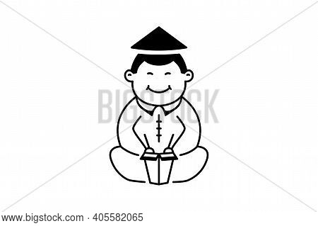 Chinese Man In Traditional Dress Eating Instant Noodles Logo In Flat Style. Chinese Food Mascot Isol