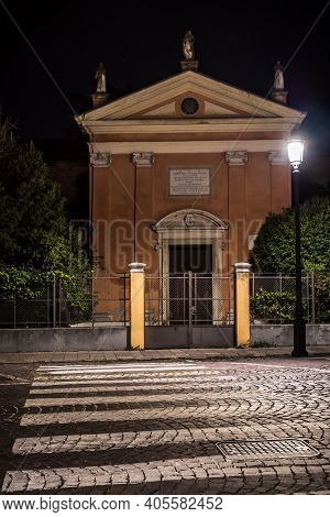 Chiesa San Luca Evangelista Catholic Church In Padova At Night, Sign Reading: This Building Of Luke