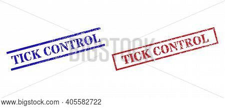 Grunge Tick Control Rubber Stamps In Red And Blue Colors. Stamps Have Distress Surface. Vector Rubbe