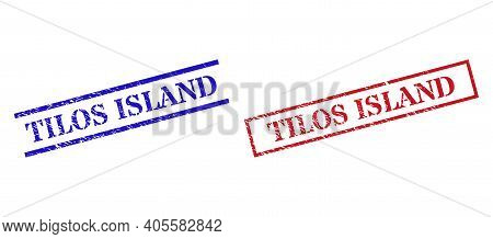 Grunge Tilos Island Rubber Stamps In Red And Blue Colors. Stamps Have Rubber Style. Vector Rubber Im