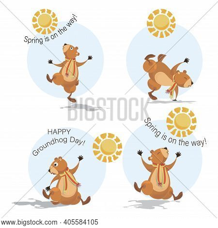 Groundhog Set. Happy Groundhog Day. Cute Marmot, Sun And Shadow. Spring Is On The Way. Emblem.