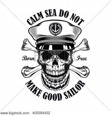 Captain Emblem Design. Monochrome Element With Skull In Ship Captain Cap, Crossed Bones Vector Illus