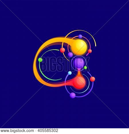 G Letter Logo With Atoms Orbits. Vector Vivid Icon Perfect To Use In Any Science Labels, Technology