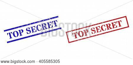 Grunge Top Secret Seal Stamps In Red And Blue Colors. Stamps Have Rubber Surface. Vector Rubber Imit