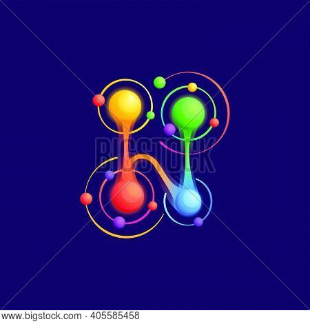 H Letter Logo With Atoms Orbits. Vector Vivid Icon Perfect To Use In Any Science Labels, Technology