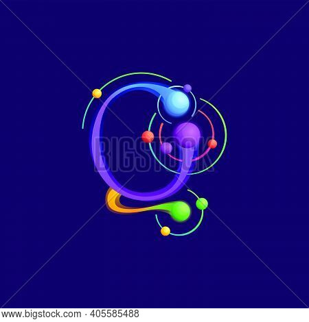 Q Letter Logo With Atoms Orbits. Vector Vivid Icon Perfect To Use In Any Science Labels, Technology