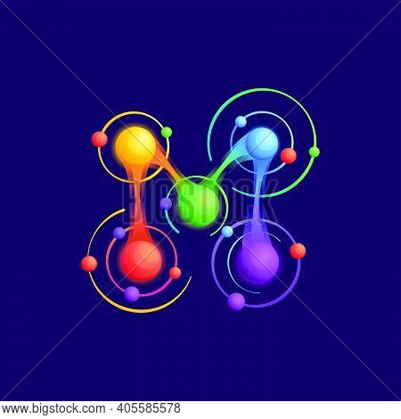 M Letter Logo With Atoms Orbits. Vector Vivid Icon Perfect To Use In Any Science Labels, Technology
