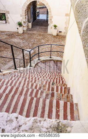 Guardias Viejas, Almeria Spain - January 15, 2020: Coastal Fortification, Internal Courtyard Of Guar