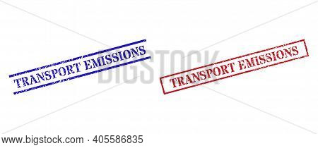 Grunge Transport Emissions Rubber Stamps In Red And Blue Colors. Stamps Have Rubber Surface. Vector