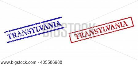 Grunge Transylvania Rubber Stamps In Red And Blue Colors. Stamps Have Rubber Texture. Vector Rubber