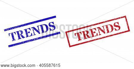 Grunge Trends Rubber Stamps In Red And Blue Colors. Stamps Have Rubber Texture. Vector Rubber Imitat