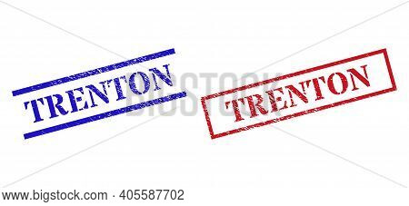 Grunge Trenton Rubber Stamps In Red And Blue Colors. Stamps Have Rubber Texture. Vector Rubber Imita