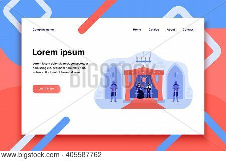 King And Queen Sitting On Thrones In Palace Flat Vector Illustration. Cartoon Medieval Castle Interi