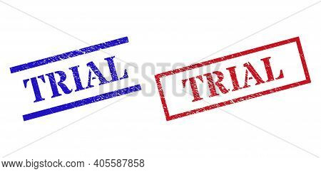 Grunge Trial Seal Stamps In Red And Blue Colors. Stamps Have Rubber Texture. Vector Rubber Imitation