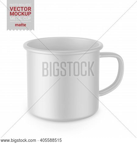 Matte White Enamel Metal Cup. Photo-realistic Packaging Mockup Template. Front View. Vector 3d Illus