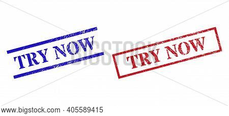 Grunge Try Now Seal Stamps In Red And Blue Colors. Seals Have Rubber Surface. Vector Rubber Imitatio