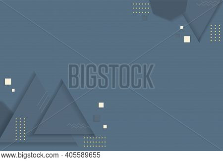 Geometric Abstract Background. On A Plain Backdrop With Small Circles, Squares And Large Triangles,