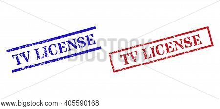 Grunge Tv License Stamp Seals In Red And Blue Colors. Stamps Have Rubber Style. Vector Rubber Imitat