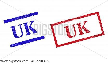 Grunge Uk Stamp Seals In Red And Blue Colors. Seals Have Rubber Style. Vector Rubber Imitations With