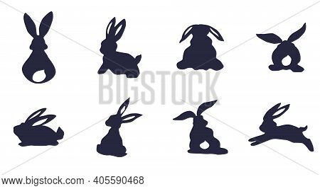 Silhouettes Of Rabbits And Hares On A White Background. Doodle Vector Sketch
