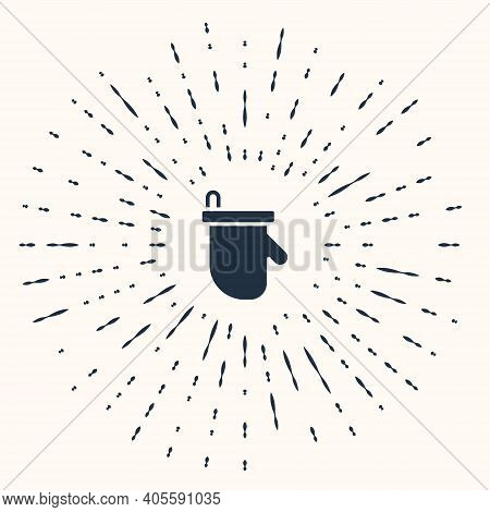 Grey Sauna Mittens Icon Isolated On Beige Background. Mitten For Spa. Abstract Circle Random Dots. V