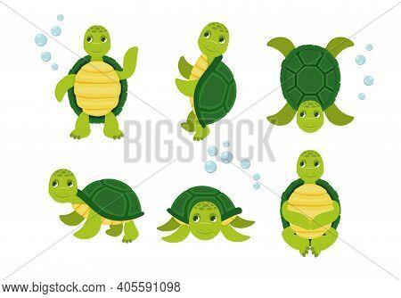 Turtle Happy Animal, Tortoise Cute And Cheerful. Vector Illustration. Cartoon Vector Turtle In Vario