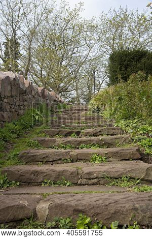 Steps Leading To Cabot Tower A Grade Ii Listed Building Built In The 1890s, Situated In A Public Par