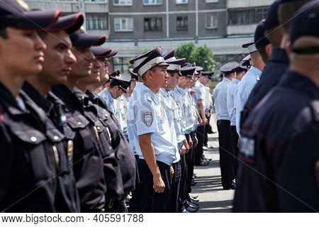 July 18, 2019, Russia, Magnitogorsk. A Detachment Of Police Officers On One Of The City Streets. A L