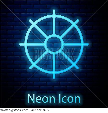 Glowing Neon Dharma Wheel Icon Isolated On Brick Wall Background. Buddhism Religion Sign. Dharmachak