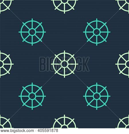Green And Beige Dharma Wheel Icon Isolated Seamless Pattern On Blue Background. Buddhism Religion Si