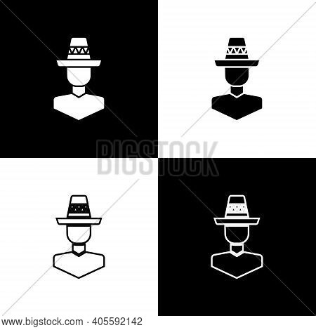Set Mexican Man Wearing Sombrero Icon Isolated On Black And White Background. Hispanic Man With A Mu