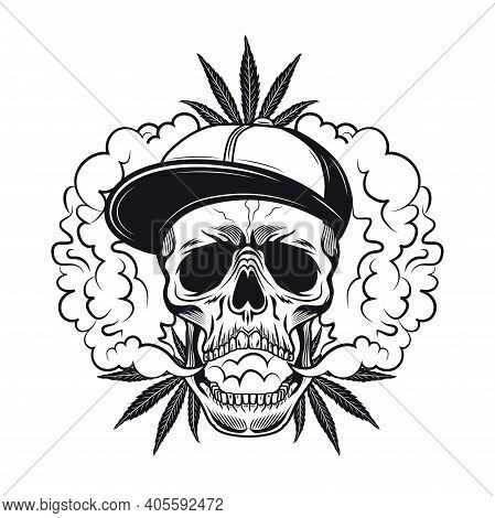 Hashish Smoker Symbol Design. Monochrome Element With Skull In Cap, Cannabis Leaf, Smoke Cloud Vecto