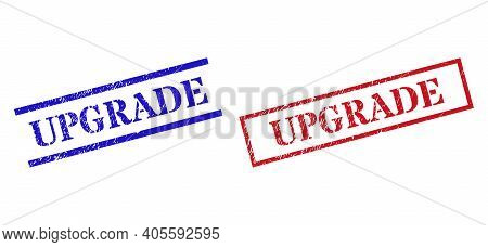 Grunge Upgrade Rubber Stamps In Red And Blue Colors. Stamps Have Draft Style. Vector Rubber Imitatio