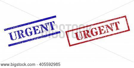 Grunge Urgent Rubber Stamps In Red And Blue Colors. Seals Have Rubber Style. Vector Rubber Imitation