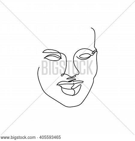 Gorgeous Portrait Continuous One Line Art. Abstract Woman Portrait. Glamour Style. Modern Minimalist