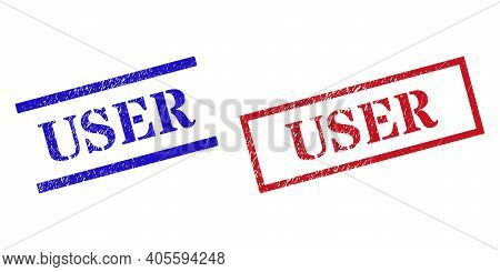 Grunge User Rubber Stamps In Red And Blue Colors. Seals Have Rubber Surface. Vector Rubber Imitation
