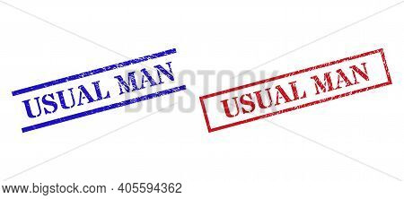 Grunge Usual Man Stamp Seals In Red And Blue Colors. Seals Have Rubber Style. Vector Rubber Imitatio